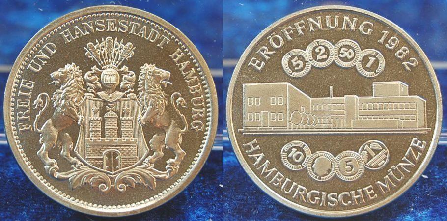 Medaille Rs Stempel 3 Mark Hamburg 1982 Deutschland
