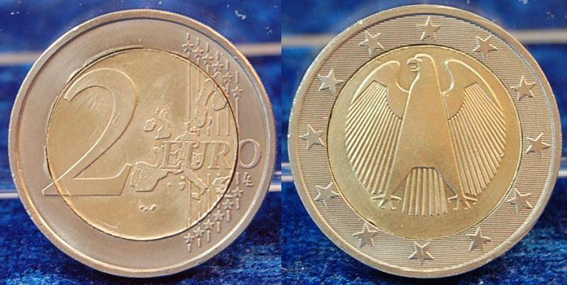 2 Euro Probe Drehende Sterne 2002 Deutschland 2 Euro