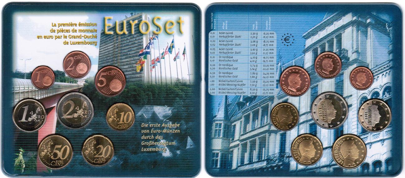 Offizieller Kursmünzensatz 2002 2002 Luxemburg Offizieller Kurssatz