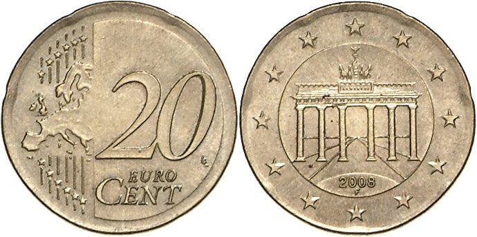 Fehlprägung 20 Cent Auf 10 Cent Rohling 2008 Deutschland Fehlprägung