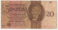 Deutschland 20 Reichsmark Reichsbanknote 20 Reichsmark Banknote 11.10.1924 Unterdruck Buchstabe E, Serie D.  gebraucht