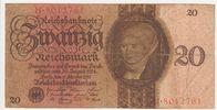 Deutschland 20 Reichsmark Reichsbanknote 20 Reichsmark Banknote 11.10.1924 Unterdruck Buchstabe E, Serie H.  gebraucht