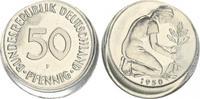 Deutschland 50 Pfennig dezentriert 50Pf. J.384 Fehlprägung 15% dezentriert ohne Riffelrand, prfr.