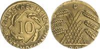 Deutschland / Weimar 10 Pfennig auf 5 Pf. Schrötling 10 Pfennig J.309 1924D Fehlprägung: auf 5 Pf.-Schrötling geprägt, 2,5g vz