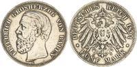 Deutschland / Kaiserreich / Baden 5 Mark Friedrich I. Baden 5 Mark 1891 G Friedrich I. A in Baden ohne Querstrich ss schöne Patina
