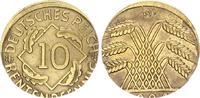 Deutschland / Weimar 10 Pfennig auf 5 Pf. Schrötling 10 Pfennig J.309 1924D Fehlprägung: auf 5 Pf.-Schrötling geprägt, 2,58g vz