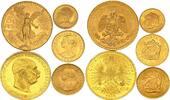 Chile - Mexiko - Österreich 5 Münzen 900er Gold zu
