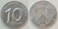 Deutschland / DDR 10 Pfennig 10 Pfennig DDR 1952 E   prägefrisch-Stempelglanz  seltenes Jahr