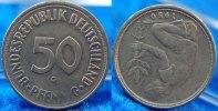 Deutschland 50 Pfennig 50Pf. J.384 Fehlprägung 180 Grad Stempeldrehung, ss+