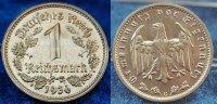 Deutschland / 3.Reich 1 Mark 3. Reich 1 Mark J.354 Nickel 1936G seltenes Mzz. und Erhaltung, prfr.