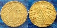 Deutschland / Weimar 10 Pfennig auf 5 Pf. Schrötling 10 Pfennig J.309 1924D Fehlprägung: auf 5 Pf.-Schrötling geprägt, 2,6g prfr.- st