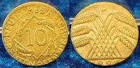 Deutschland / Weimar 10 Pfennig auf 5 Pf. Schrötling 10 Pfennig J.309 1924D Fehlprägung: auf 5 Pf.-Schrötling geprägt, 2,6g prfr.