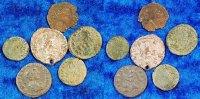 Antike / 6 antike Fälschungen Lot aus 6 antiken Fälschungen Römische Kaiser  Lot 6 antike Fälschungen: Gratianus, Tetricus, Geta, Ant. Pius