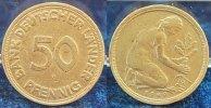 Deutschland 50 Pfennig 50Pf. J.379, 1949F magnetisch auf Fremdrohling, 3,51g