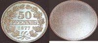 Deutschland / Kaiserreich / PROBEPRÄGUNG 50 Pfennig (nur Wertseite) Kaiserreich Silberprobe zum 50Pf. J.8  1877 D, EA/PP, Medailleur Ries