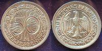 Deutschland / 3.Reich 50 Pfennig 3. Reich 50 Pfennig J.324 Nickel 1936G seltenes Jahr und Erhaltung, f.st