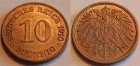 Deutschland / Kaiserreich 10 Pfennig Kaiserreich 10 Pf. J.13  1910 E  schöne Patina, besseres Mzz., prägefrisch