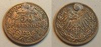 Deutschland / Kaiserreich 50 Pfennig Kaiserreich 50Pf. J.15  1896A  Belegstück. Gestopftes Loch, sonst ss