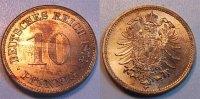 Deutschland / Kaiserreich 10 Pfennig Kaiserreich 10 Pf. J.4  1874 H   schöne Tönung, fast Stempelglanz