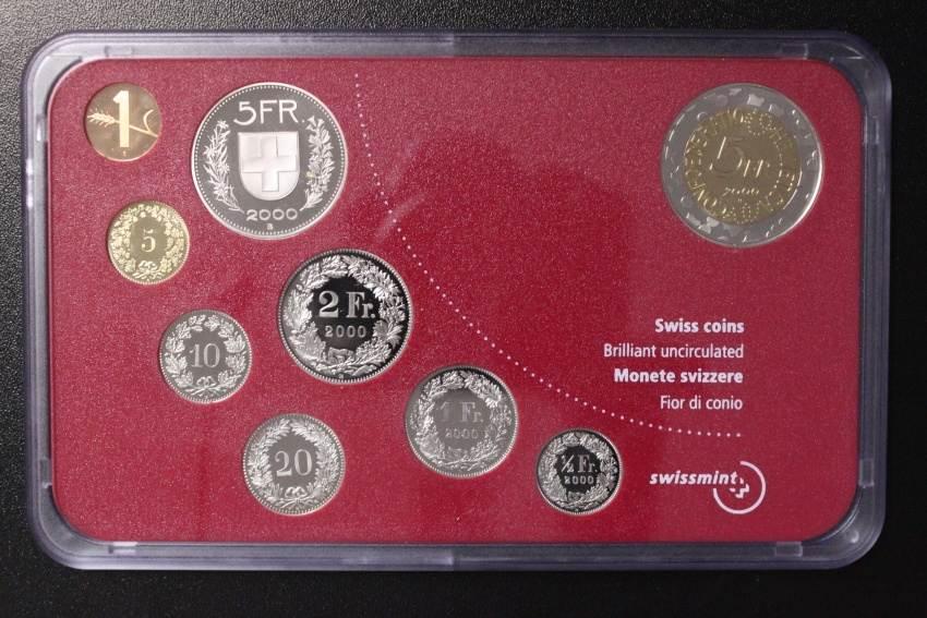 KMS 2000 Schweiz Kursmünzensatz + 5 Franken Baseler Fasnacht st/OVP