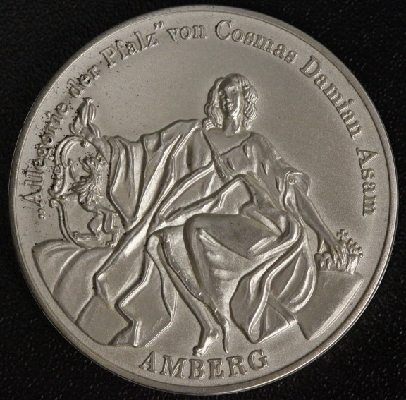 Schraub-Medaille incl. Inhalt o.J. (1989) Alteglofsheim - Amberg Cosmas Damian Asam (1686-1739) vz-st/mattiert*