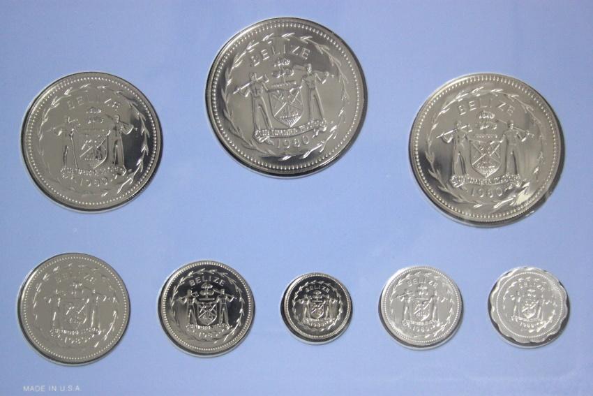 Proof-Set 1 Cent - 10 Dollars 1980 Belize KMS Satz Vögel - CN BU/OVP/Zert.