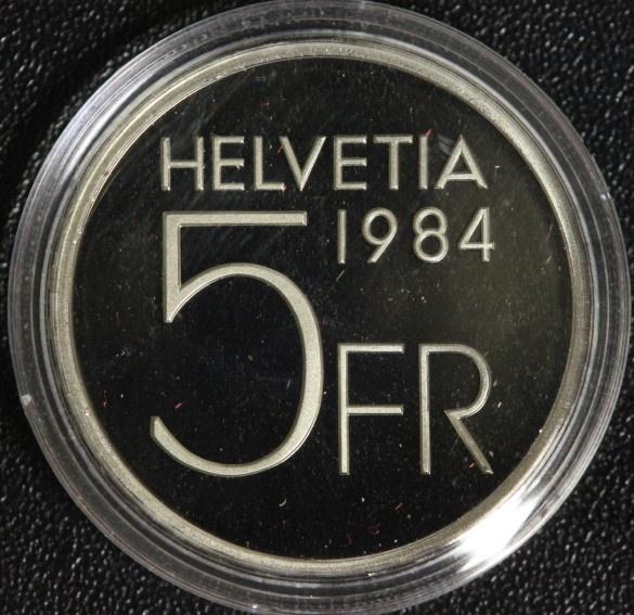5 Franken 1984 Schweiz A. Piccard PP/Etui*