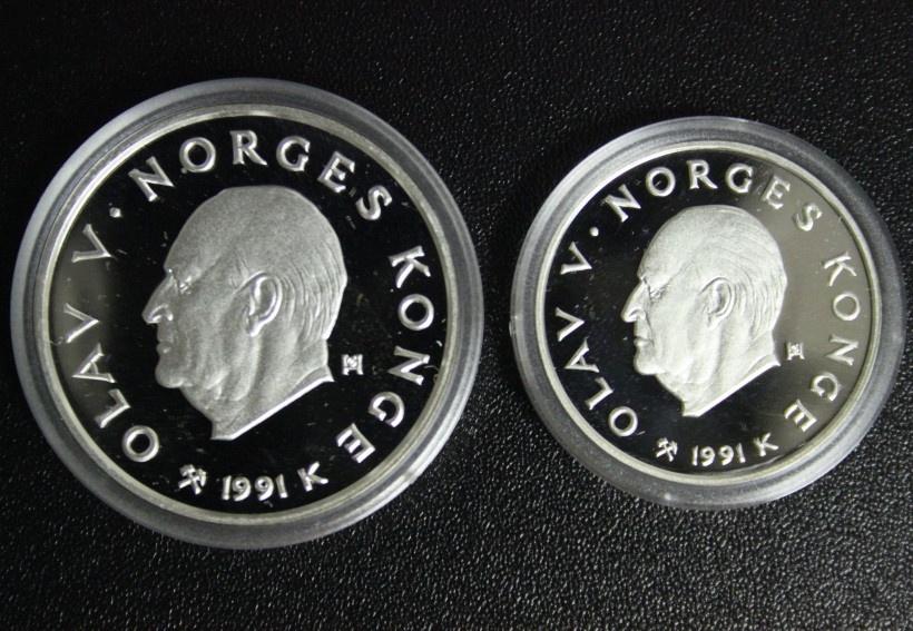 Satz 50 & 100 Kronen 1991 Norwegen Olympia Lillehammer ´94 - Langläufer/ Sikfahren PP/OVP*/Zert.