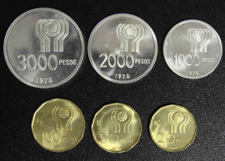 Satz 20 Pesos - 3000 Pesos 1978 Argentinien Fußball-WM Argentinien 1978 - incl. Silber f.st/min.fleckig/ Original-Etui*
