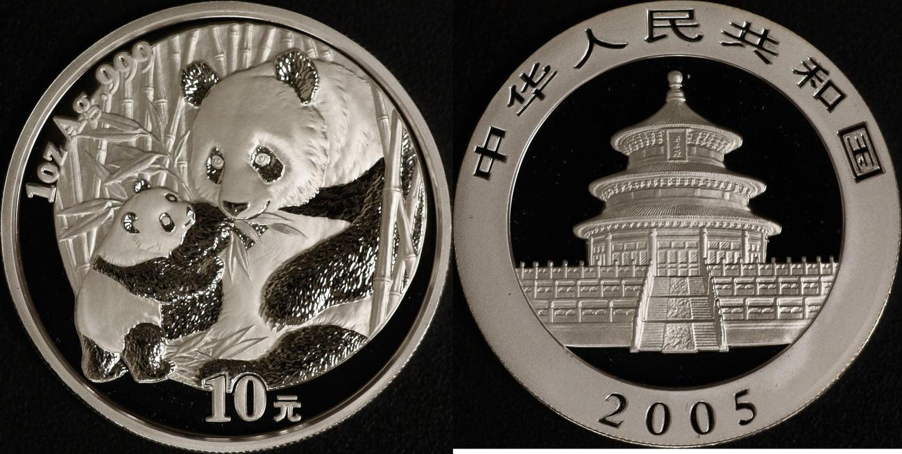 10 Yuan 2005 China Panda st in Kapsel