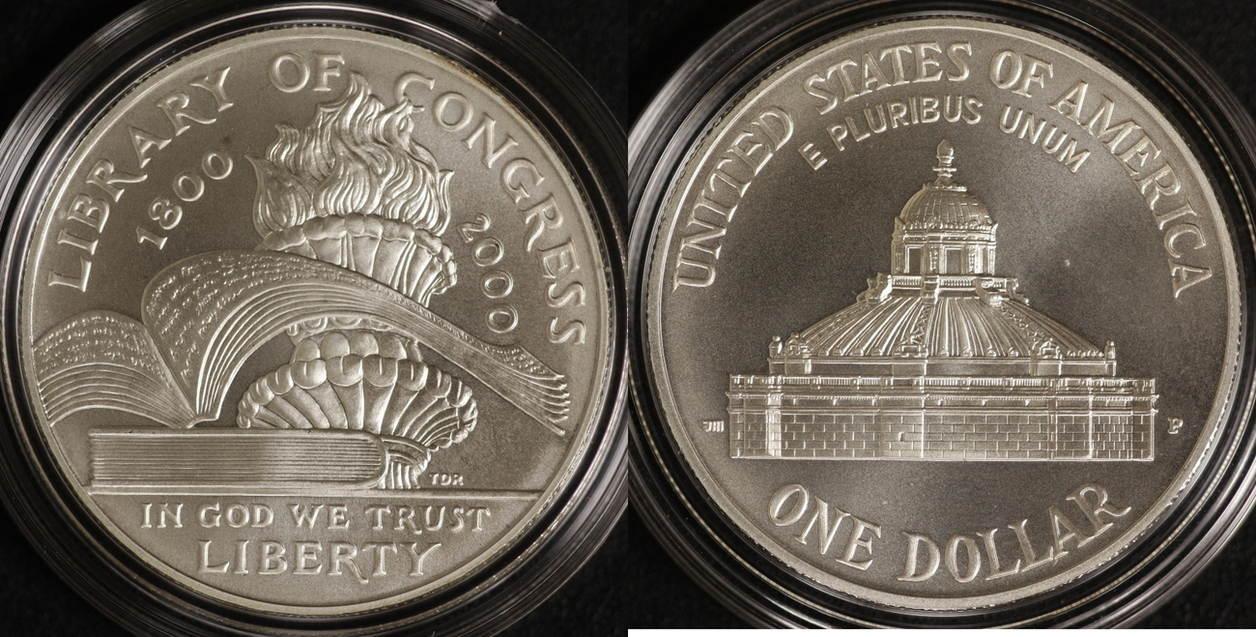 1 Dollar 2000 USA Libary of Congress st / OVP/ Zert./ Etui