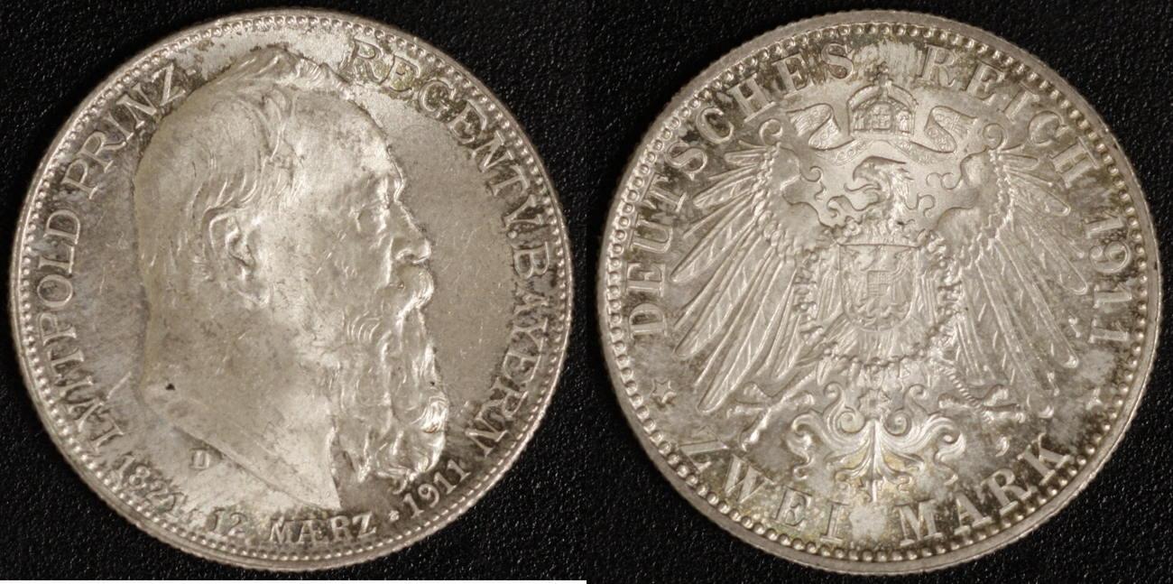 2 Mark 1911 Bayern Prinzregent vz