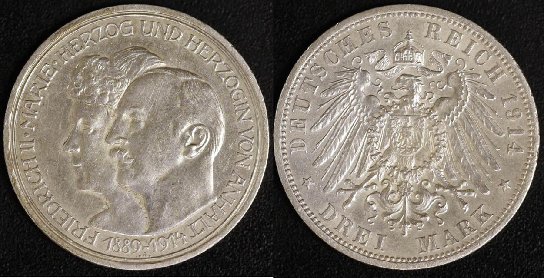 3 Mark 1914 Anhalt Silberhochzeit ss