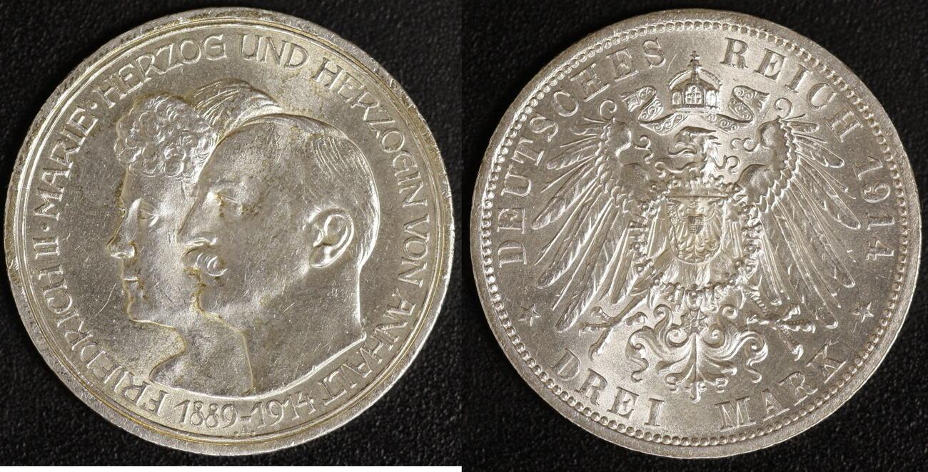 3 Mark 1914 Anhalt Silberhochzeit vz+