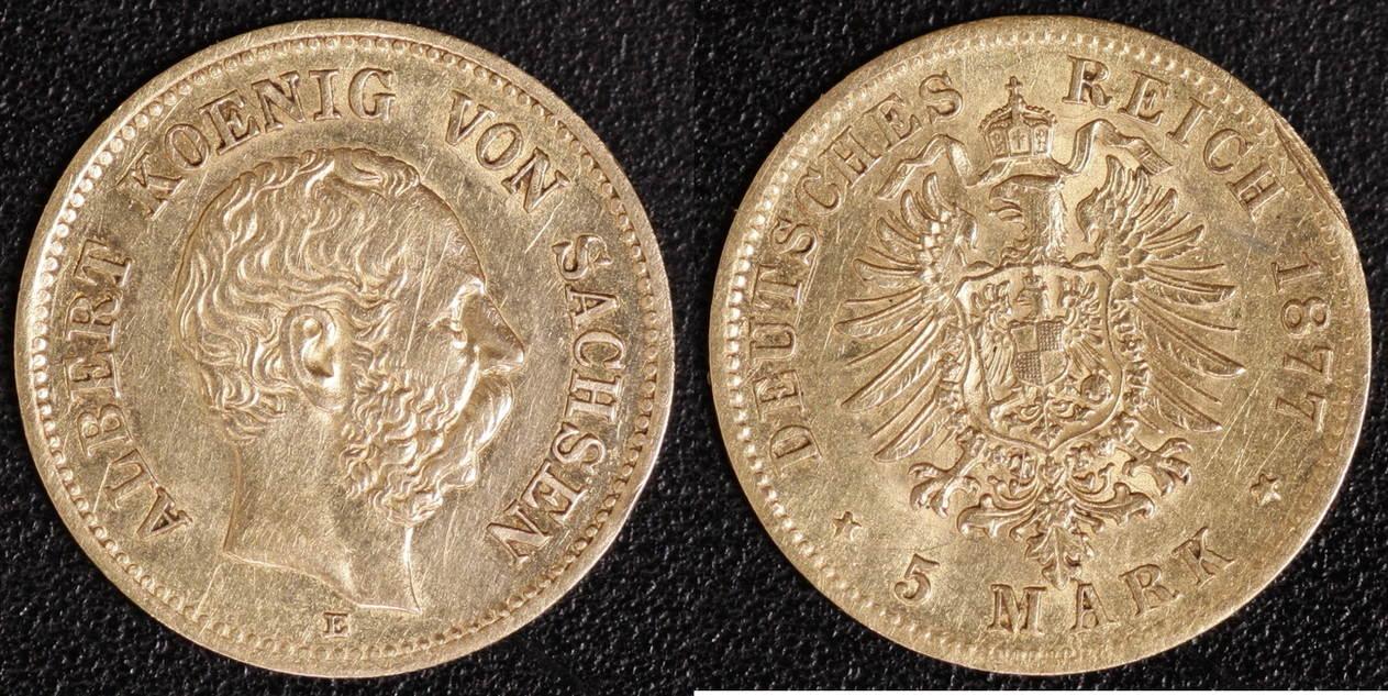 5 Mark 1877 Sachsen Albert fss-vz,Rf.