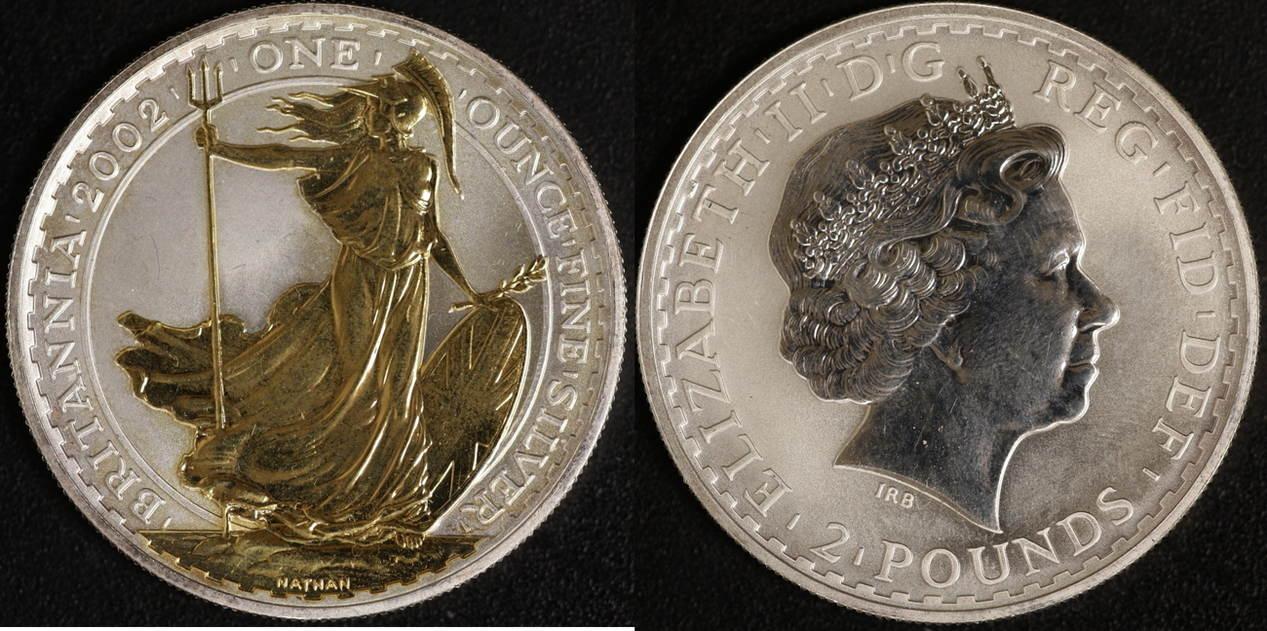 2 Pounds 2002 Großbritanien Britannia vz-st, teilvergoldet