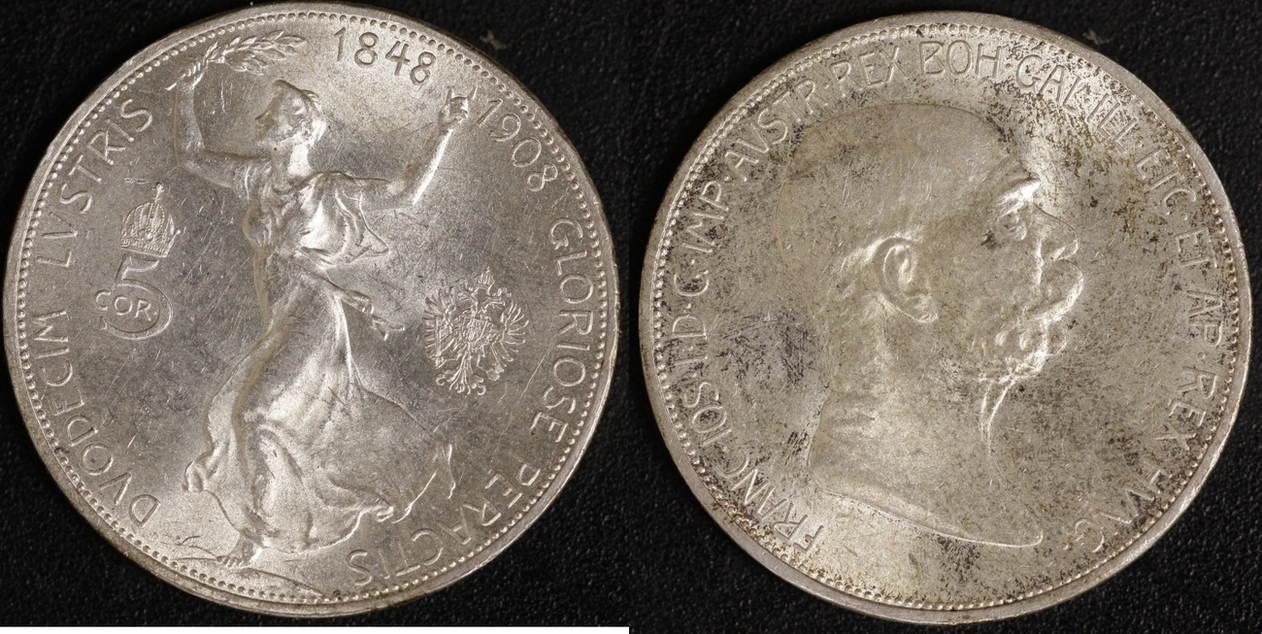 5 Kronen 1908 Österreich Franz Joseph I., Reg. Jubiläum vz
