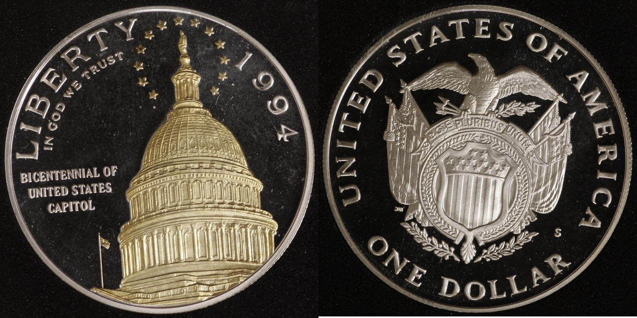 1 Dollar 1994 USA Capitol PP, teilvergoldet