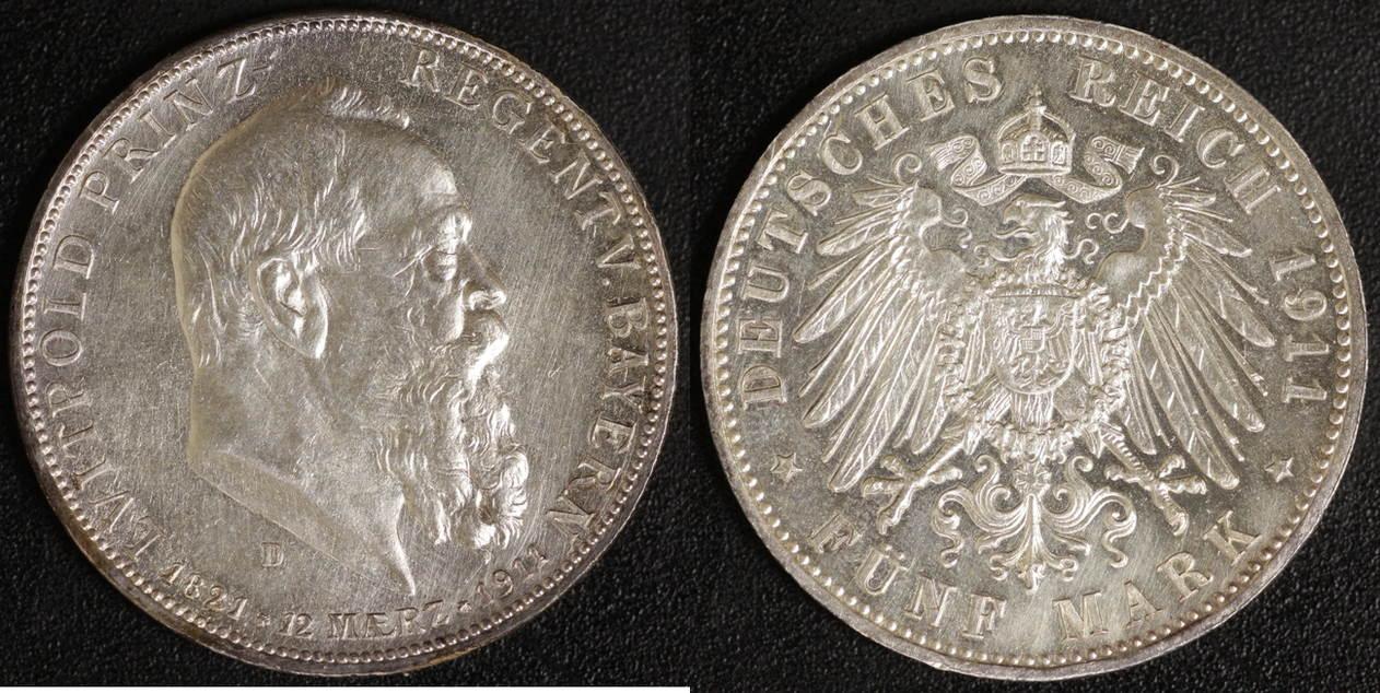 5 Mark 1911 Bayern Prinzregent Luitpold vz