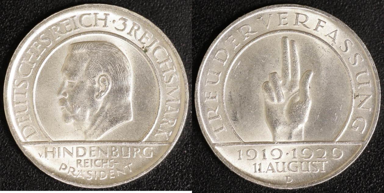 3 Mark 1929 D Weimar 10 Jahre Verfassung ss-vz
