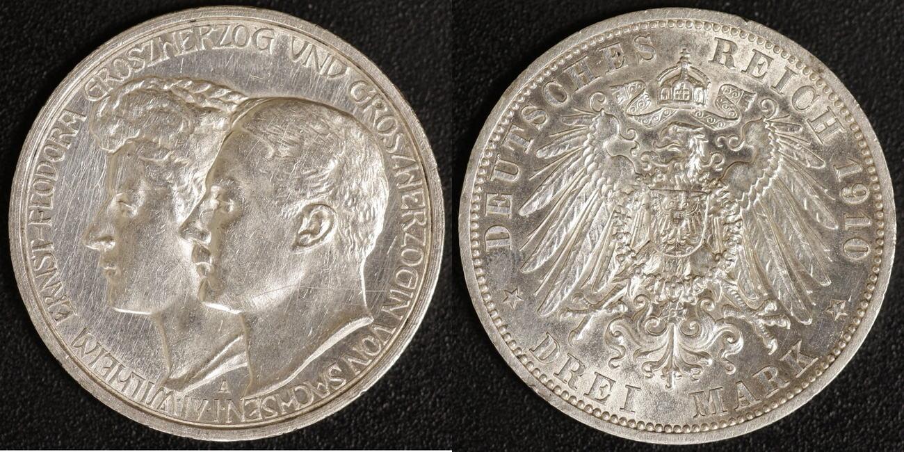 3 Mark 1910 Sachsen-Weimar-Eisenach Feodora ss-vz