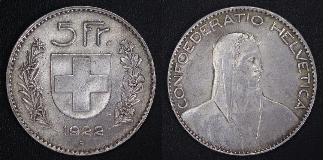 1922 confoederatio helvetica coin