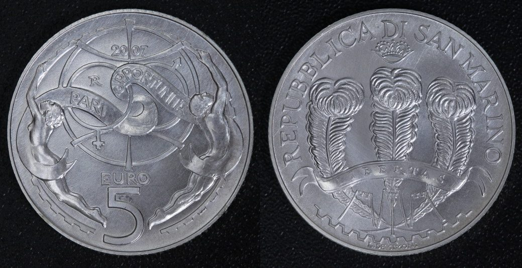 5 Euro 2007 San Marino - Chancengleichheit - (nur in KMS) st-/min.ber.