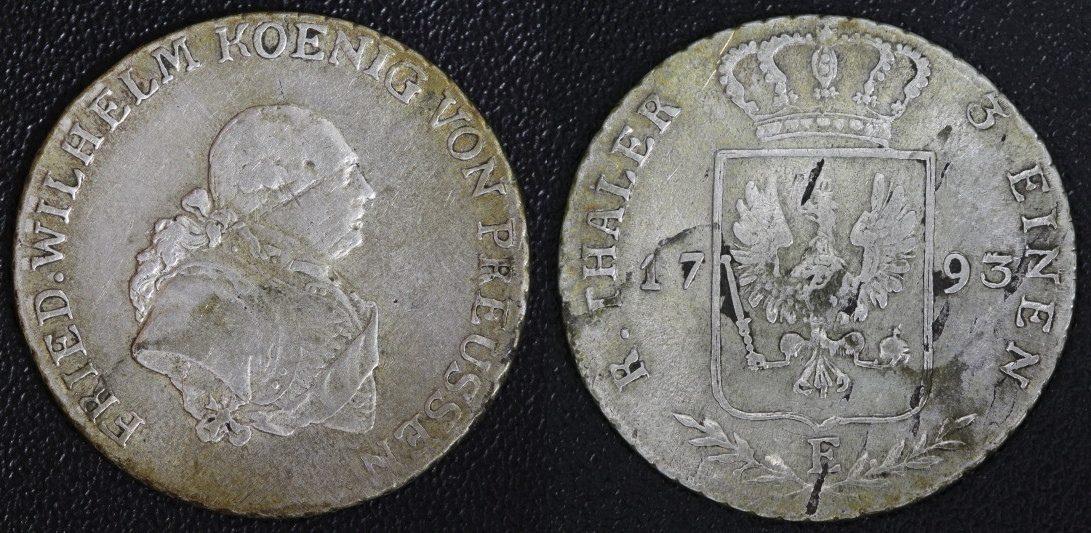 1/3 Taler 1793 E Preußen Friedrich Wilhelm II. (Königsberg) ss/Srf.