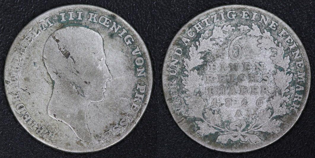 1/6 Taler 1816 A Preußen - Friedrich Wilhelm III. - (Berlin) s/Bel.