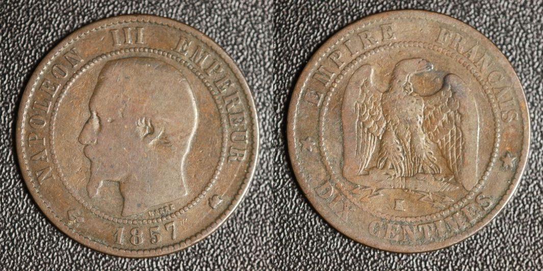10 Centimes 1857 K Frankreich Napoleon III. - Bordeaux s-ss