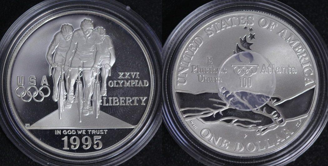 Dollar 1995 P USA Olympia Atlanta - Radfahren PP/l.Pat.
