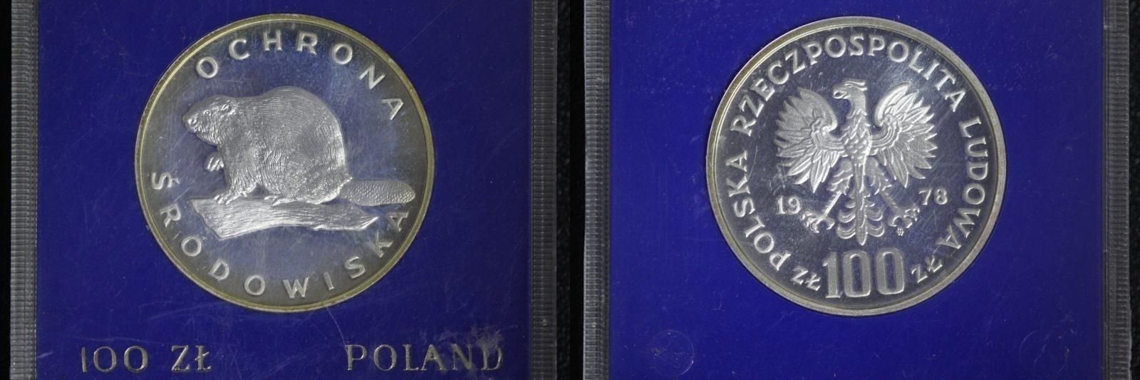 100 Zloty 1978 Polen Serie Umweltschutz - Biber PP/ l.Patina