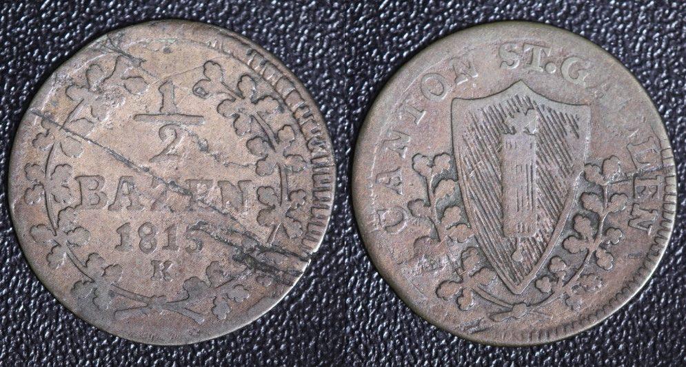 1/2 Batzen 1815 K Schweiz - St. Gallen - s