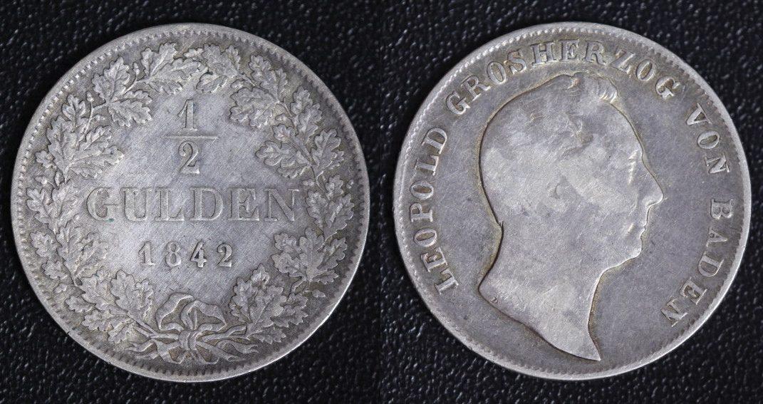 1/2 Gulden 1842 Baden Leopold f.ss